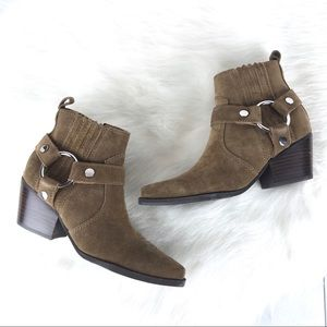 Marc Fisher Halie Suede Western Ankle Boots